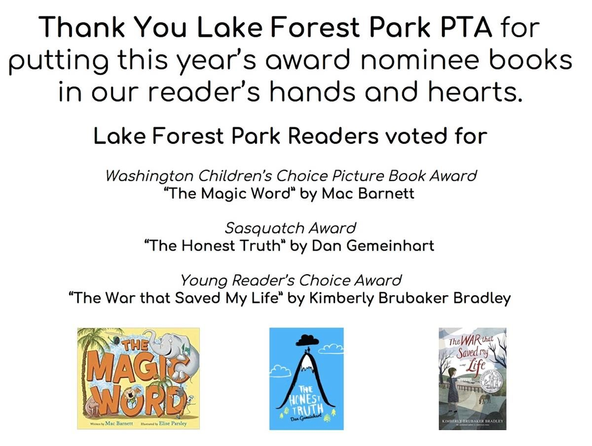 The book award votes have been counted!  Thank you, LFP PTA, for bringing the books to our students.