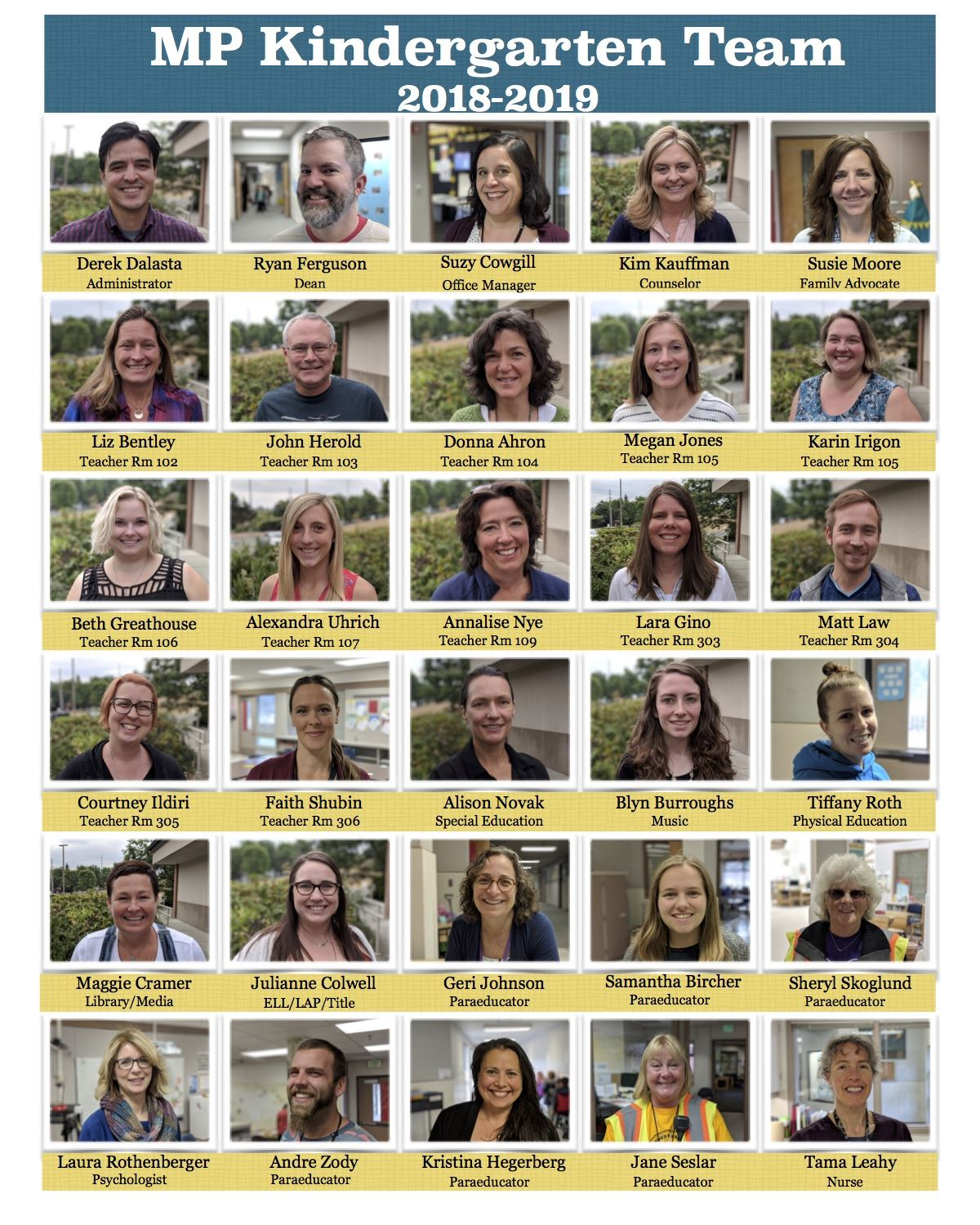 Kindergarten Program Staff