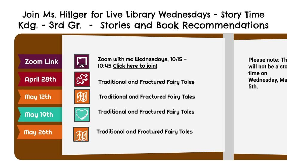 April and May Live Library Wednesday Story Times