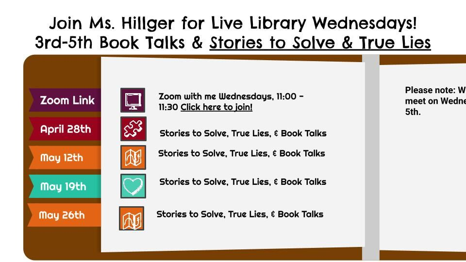 Live Library Wednesdays - Stories to Solve, True Lies, Book Talks