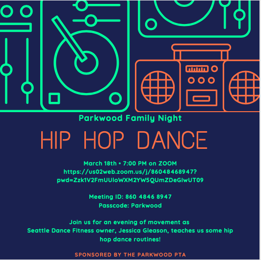 Family Night!  Hip Hop Dance Party, March 18th 7pm