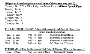 honor choir schedule