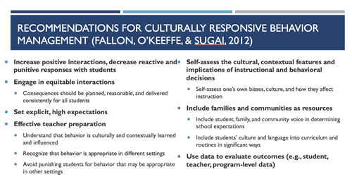 Recommendations for cultural responsiveness
