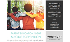 Suicide Prevention Parent Education Night on November 7