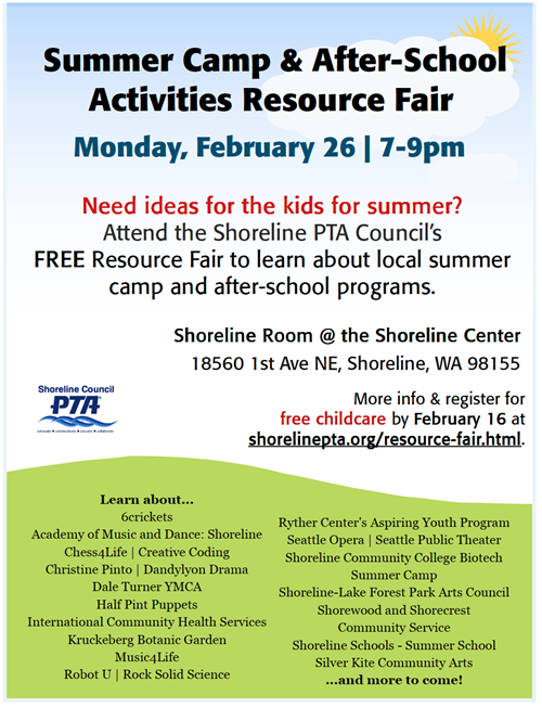 Shoreline Pta Council Summer Camp And After School Programs Resource