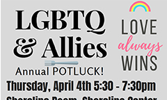 4th Annual LGBTQ and Allies Potluck Dinner Scheduled for April 4
