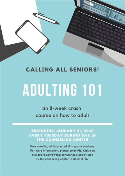 flyer for adulting 8-week course