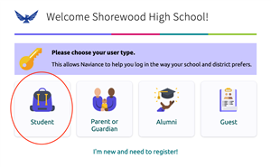 Shorewood Naviance Login Screen