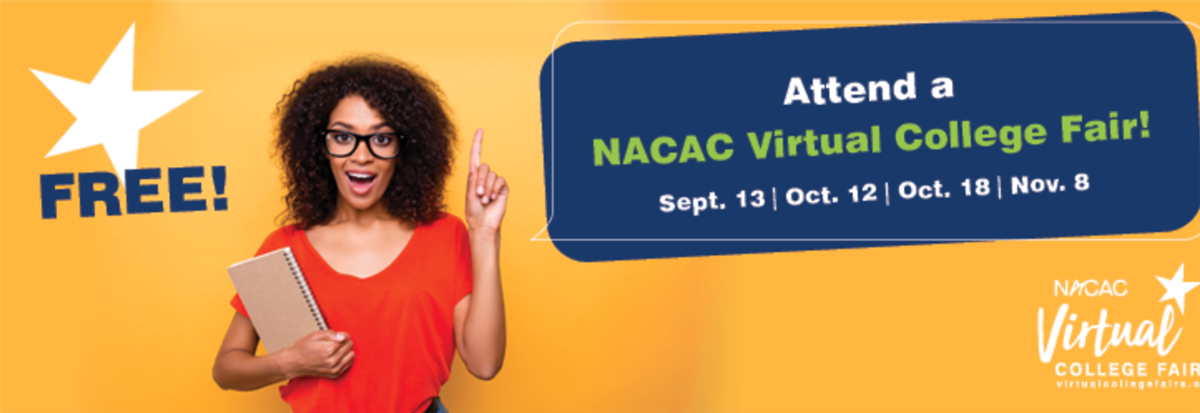 Fall 2020 Virtual College Fairs  10/12, 10/18, 11/8