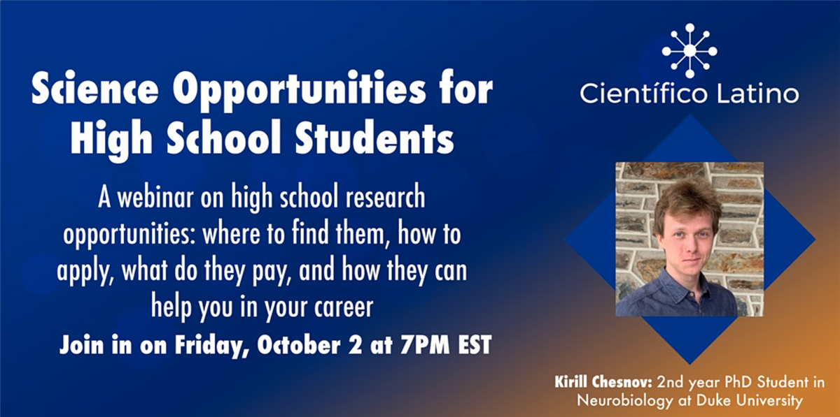 Science Research Opportunities for High School Students  10/2