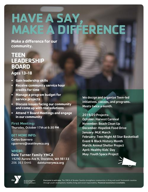 YMCA flyer for leadership board