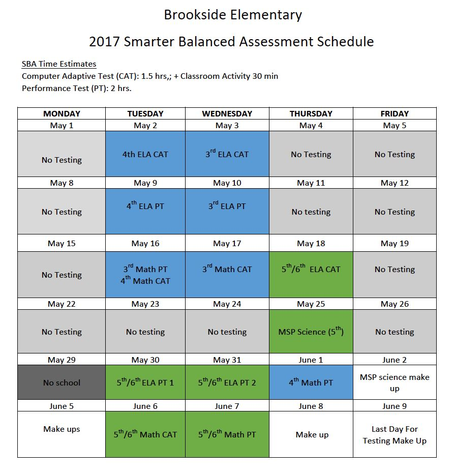 SBA Testing Schedule 2017 for BKS
